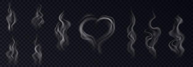 Realistyczny zestaw dymu parowego z białymi oparami w kształcie serca i wiru na czarnym przezroczystym tle na białym tle. kolekcja efektów steam. 3d ilustracji wektorowych