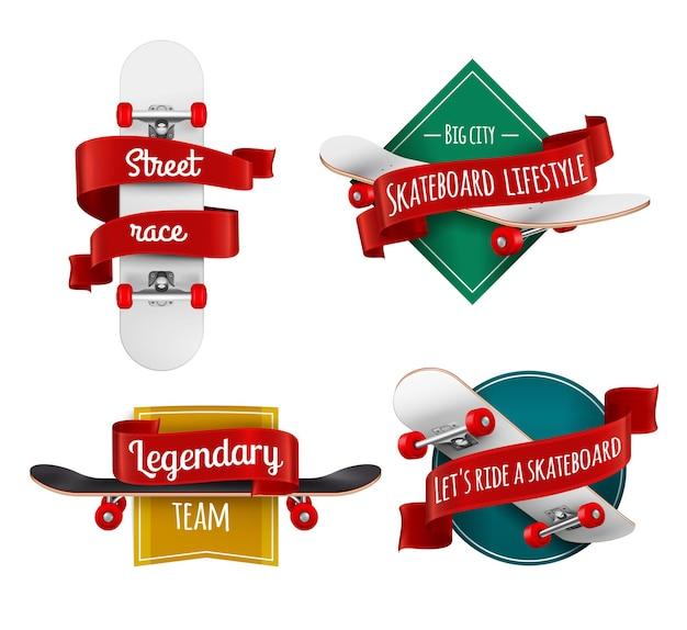 Realistyczny zestaw emblematów deskorolek z ekwipunkiem sportowym ozdobionym czerwonymi wstążkami