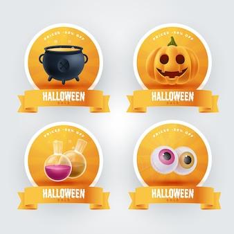 Realistyczny zestaw etykiet sprzedaży halloween