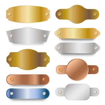 Realistyczny zestaw etykiet z metalicznej miedzi, srebra i złota