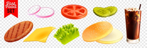 Realistyczny zestaw fast food na przezroczystym tle na białym tle ilustracji