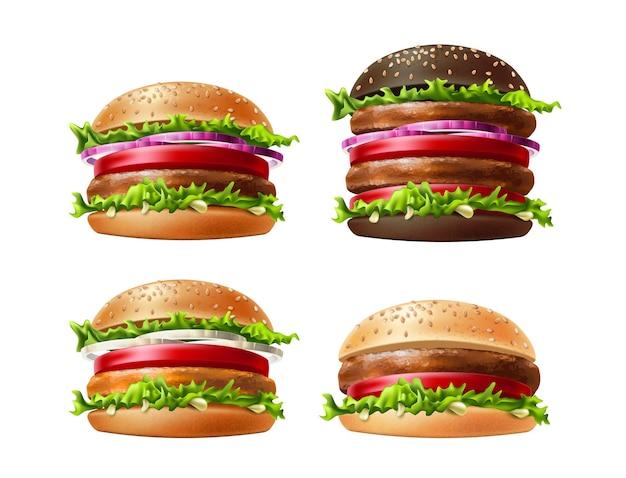 Realistyczny zestaw hamburgerów. pyszne hamburgery, cheeseburgery z warzywami. amerykańskie jedzenie na kolację.