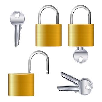 Realistyczny zestaw identycznych złotych metalicznych otwartych i zamkniętych kłódek i kluczy na białym na białym tle