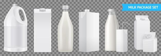 Realistyczny zestaw ikon przezroczystego pakietu mleka