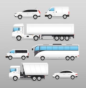 Realistyczny zestaw ikon transportu