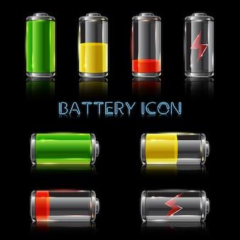 Realistyczny zestaw ikon wskaźników poziomu naładowania baterii