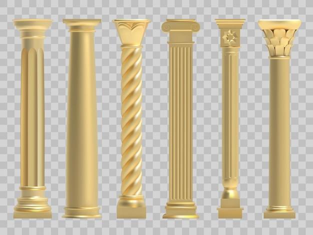 Realistyczny zestaw ilustracji złotej greckiej starożytnej kolumny