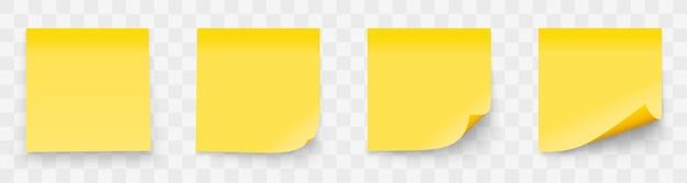 Realistyczny zestaw karteczek na białym tle na przezroczystym tle.