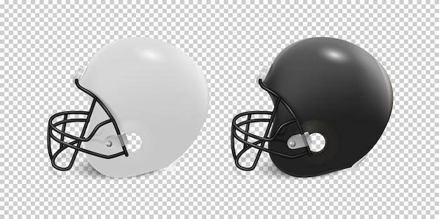 Realistyczny zestaw kasku do futbolu amerykańskiego - kolor czarno-biały.