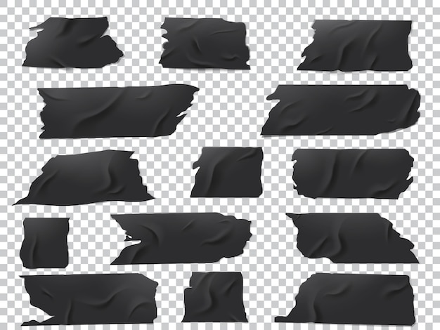 Realistyczny zestaw kawałków czarnej taśmy klejącej o różnych długościach i kształtach.