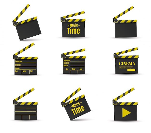 Realistyczny Zestaw Klapy Kinowej Premium Wektorów