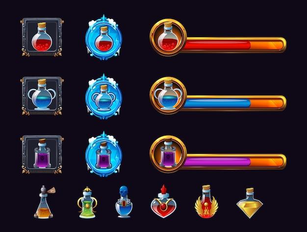 Realistyczny zestaw kolorowych magicznych mikstur i symboli wskaźników dla rpg na czarnym tle
