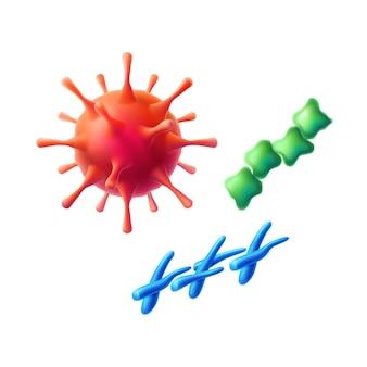 Realistyczny zestaw komórek kulistych koronawirusa, bakterii i drobnoustrojów. czerwony grypa patogen i symbol zakażenia covid. bakteria epidemiczna, zakażenie chorobami. symbol naukowych badań medycznych bio