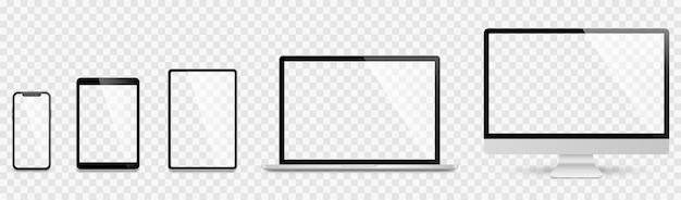 Realistyczny zestaw komputera, laptopa, tabletu i smartfona