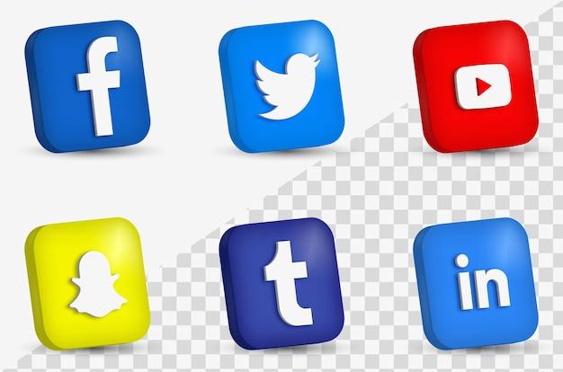 Realistyczny zestaw logo mediów społecznościowych