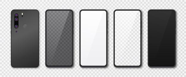 Realistyczny zestaw makiet smartfona. wyświetlacz telefonu komórkowego na białym tle na białym szarym tle. ilustracja szablonu 3d.