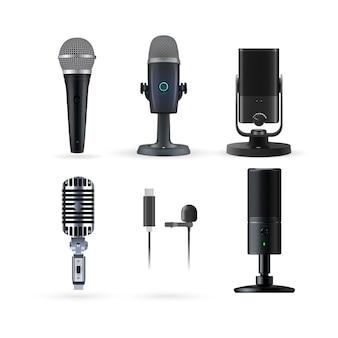 Realistyczny zestaw mikrofonów radiowych i muzycznych