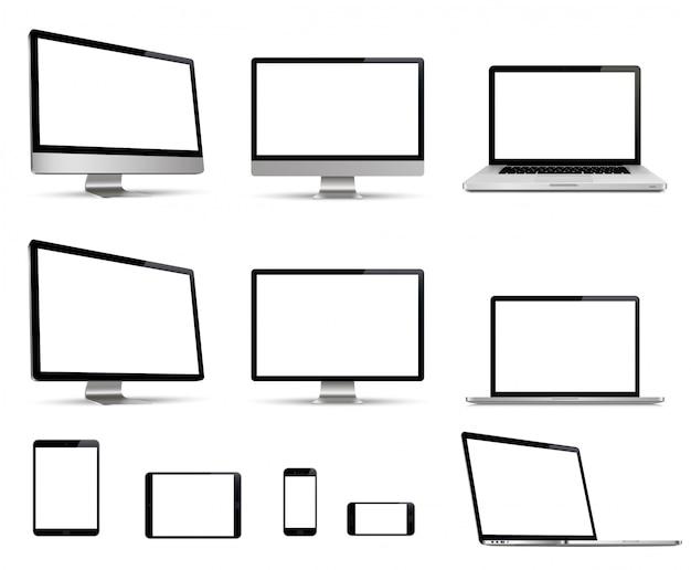 Realistyczny zestaw monitora, laptopa, tabletu, smartfona kolekcja urządzeń