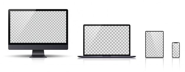 Realistyczny zestaw monitora, laptopa, tabletu, smartfona w kolorze ciemnoszarym.