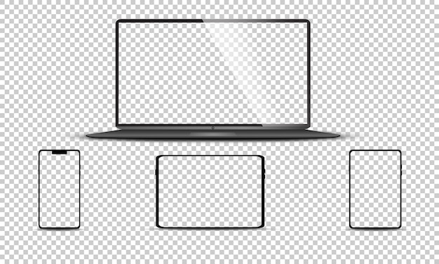 Realistyczny zestaw monitora, laptopa, tabletu, smartfona