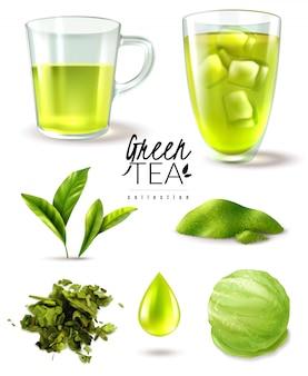Realistyczny zestaw mrożonej zielonej herbaty z izolowanymi obrazami filiżanek dojrzałych liści i ilustracji wektorowych gałki lodów