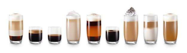Realistyczny zestaw napojów kawowych z latte i americano na białym tle