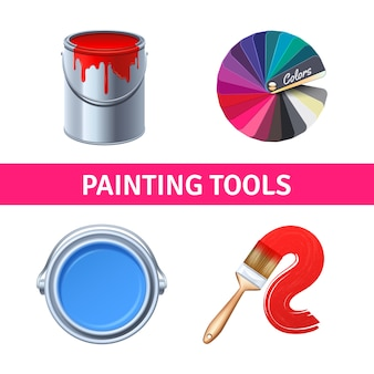 Realistyczny zestaw narzędzi do malowania za pomocą pędzla i puszki kolorów