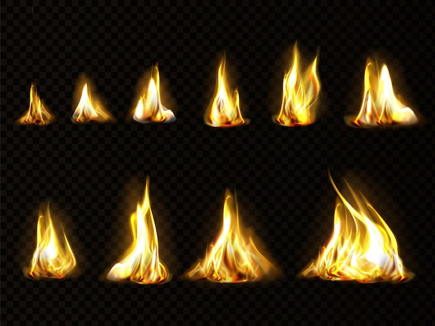 Realistyczny zestaw ognia do animacji, płomień na białym tle