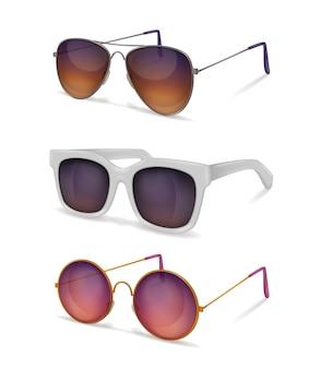 Realistyczny zestaw okularów przeciwsłonecznych z różnymi modelami okularów przeciwsłonecznych z metalowymi i plastikowymi oprawkami z cieniami