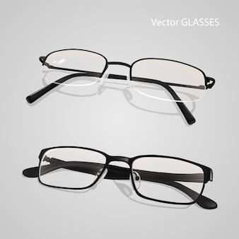 Realistyczny zestaw okularów w metalowych i plastikowych oprawkach. okulary na białym tle na szarym tle
