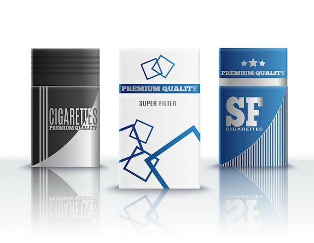 Realistyczny zestaw paczek papierosów