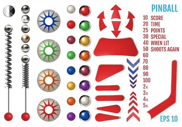 Realistyczny zestaw pinball z różnymi narzędziami