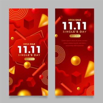 Realistyczny zestaw pionowych banerów złoty i czerwony dzień singla