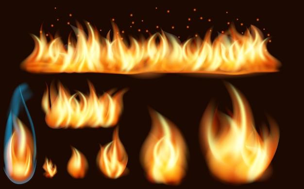 Realistyczny zestaw płonących ognisk płomienia ognia na białym tle
