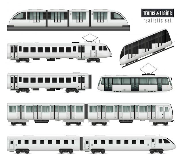 Realistyczny zestaw pociągu pasażerskiego z izolowanymi obrazami ilustracji wagonów transportu publicznego i elektrycznych tramwajów