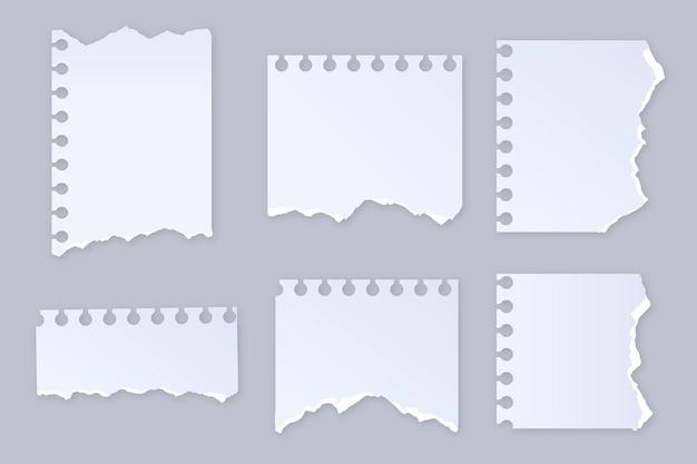 Realistyczny zestaw podartego papieru