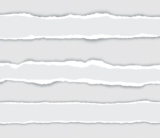 Realistyczny zestaw podartych krawędzi papieru z cieniem na przezroczystym