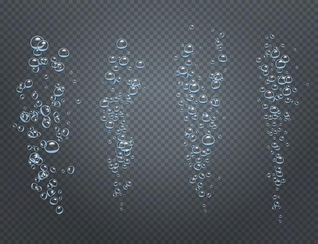 Realistyczny zestaw podwodnych gazowanych strumieni składających się z rosnących pęcherzyków powietrza