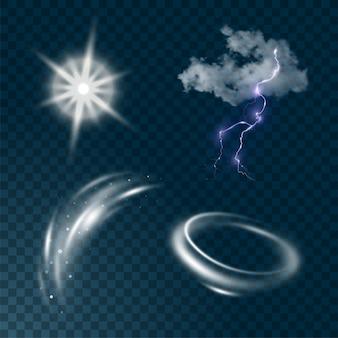 Realistyczny zestaw pogody na białym tle na ilustracji ciemne przezroczyste tło. realistyczna chmura, rozbłysk słońca, wiatr i błyskawice.
