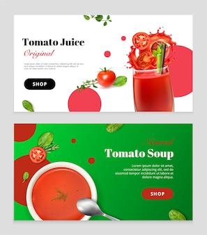 Realistyczny zestaw pomidorów składający się z dwóch poziomych banerów z naczyniami