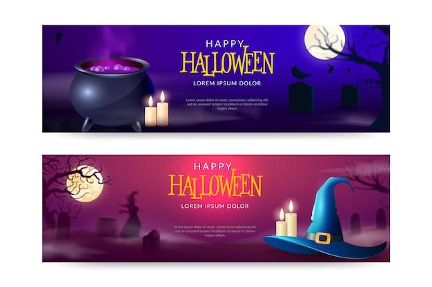Realistyczny zestaw poziomych banerów halloweenowych