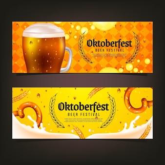 Realistyczny zestaw poziomych banerów oktoberfest