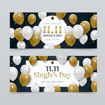 Realistyczny zestaw poziomych banerów single's day