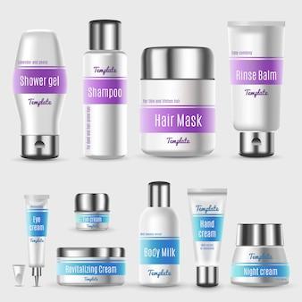 Realistyczny zestaw profesjonalnych opakowań kosmetycznych