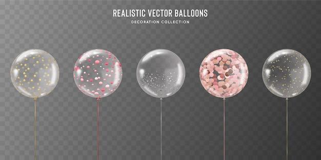 Realistyczny zestaw przezroczystych balonów ze złotym, różowym, różowym i srebrnym konfetti w środku.