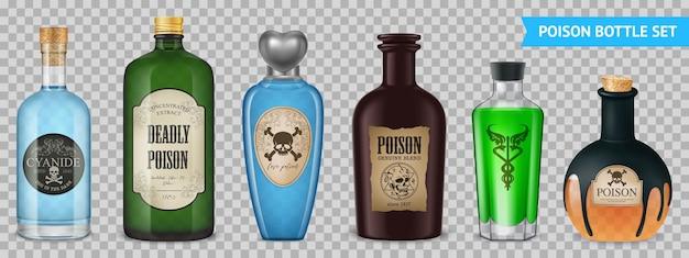 Realistyczny zestaw przezroczystych trucizn z odosobnionymi obrazami magicznych naczyń do butelek z etykietami na przezroczystej powierzchni ilustracji