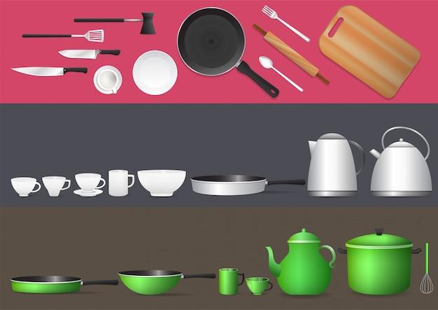 Realistyczny zestaw przyborów kuchennych.