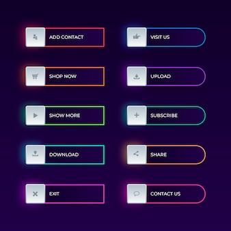Realistyczny zestaw przycisków wezwania do działania neon