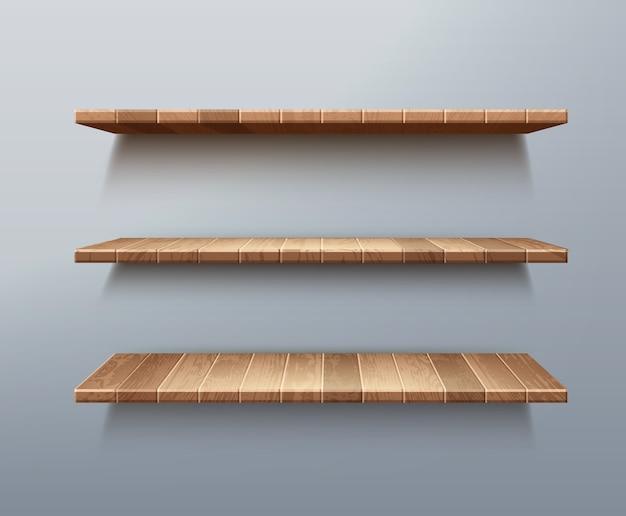 Realistyczny zestaw pustych drewnianych półek