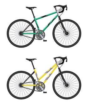 Realistyczny zestaw rowerów z ilustracjami różnych modeli